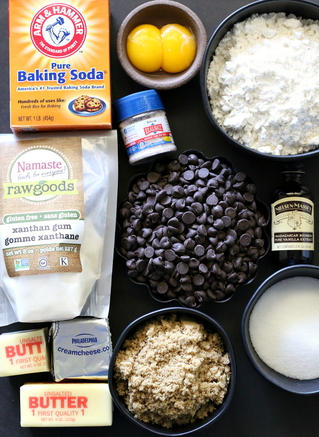 Ingredients for making best gluten-free chocolate chip cookies