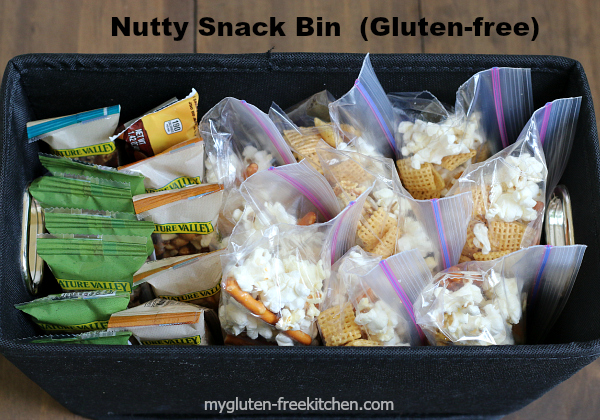 This nutty snack bin is where my kids can find gluten-free snacks for after school. Easy to grab one as we head off to sports practice!