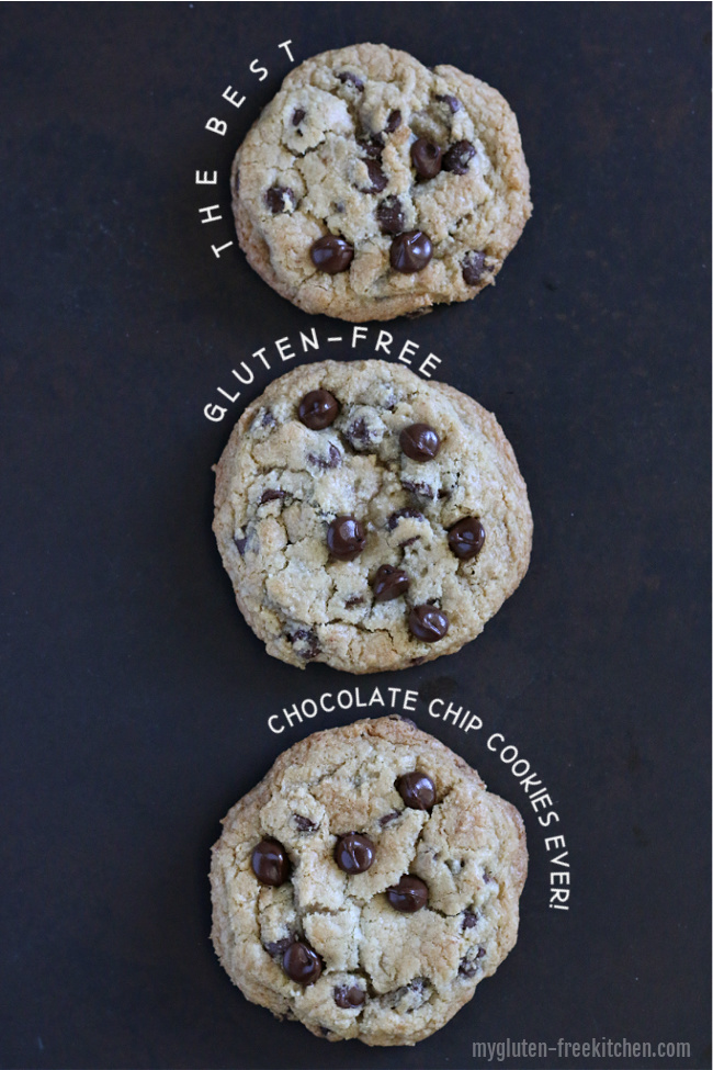 Three gluten-free chocolate chip cookies in a row