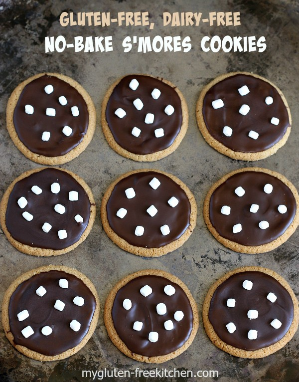 Gluten-free Dairy-free No-Bake S'mores Cookies Recipe. Easy and perfect for cookie exchanges or class parties!