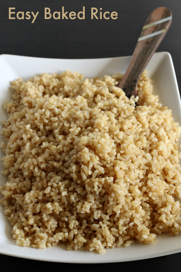 Easy Baked Brown Rice - Gluten-free recipe that is a staple in our house! I use it in all my casseroles and alongside homemade Chinese food.