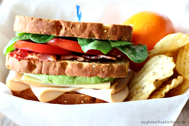 Gluten-free California Club Sandwich. Served with chips and fruit and the whole family loved it!