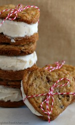 Gluten-free Heart Shaped Chocolate Chip Cookie Sandwiches - Recipe for Valentine's Day or anytime you want to share a little love!
