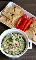 Stovetop Spinach Artichoke Dip with gluten-free baguette slices, and more ideas for gluten-free dippers.