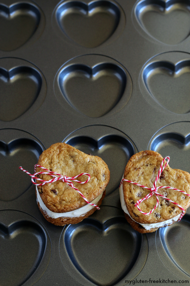 Use this baking pan with heart shapes to make these gluten-free Valentine's Chocolate Chip Cookie Ice Cream Sandwiches!