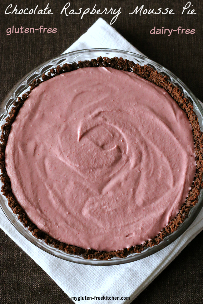 Chocolate Raspberry Mousse Pie that's gluten-free and dairy-free