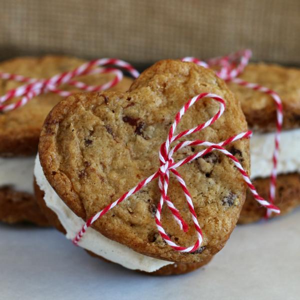 Valentine's Gluten-free Chocolate Chip Cookie Ice Cream Sandwich