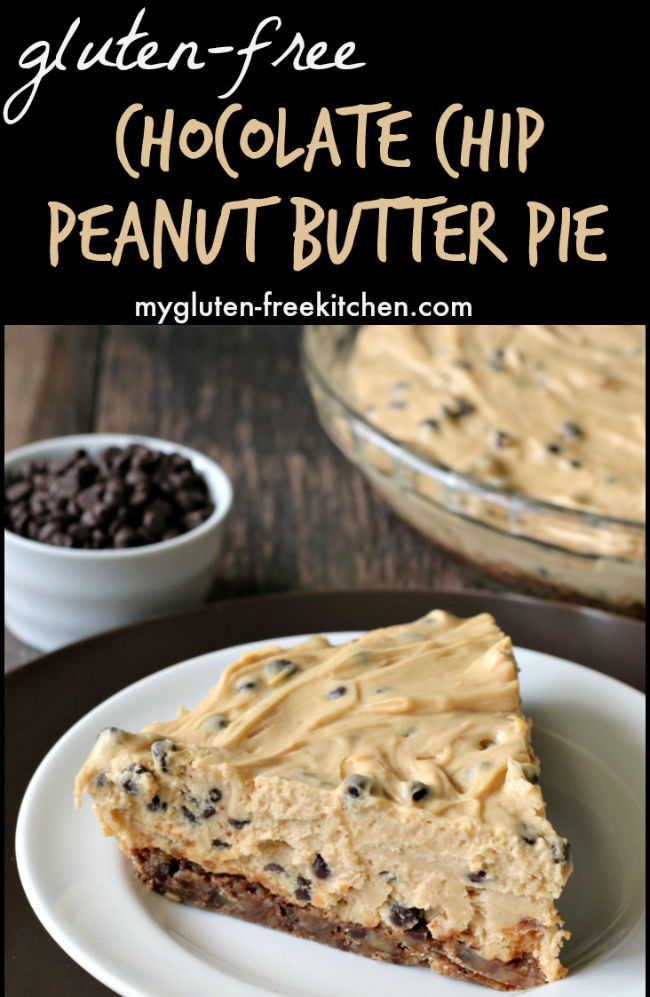 slice of gluten-free peanut butter pie with chocolate chips