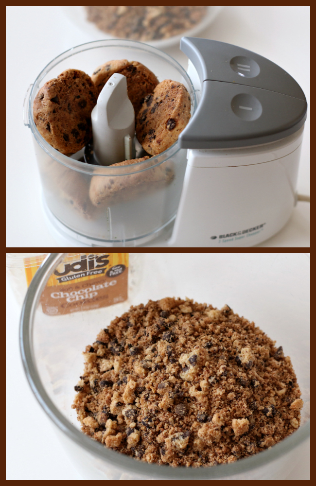Processing cookies for gluten-free chocolate chip cookie crust