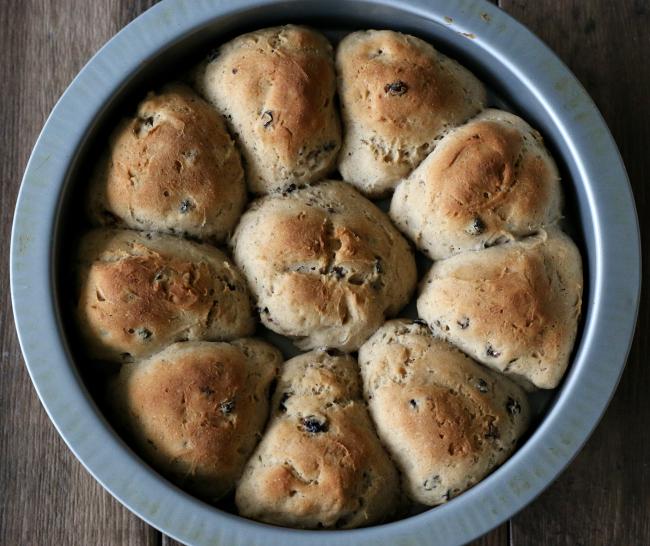 after baking gluten-free cross hot cross buns