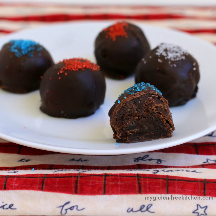 Dark Chocolate Patriotic Brownie Balls. You can't tell these rich bites are gluten-free and dairy-free.