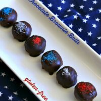 Patriotic Dark Chocolate Brownie Balls {Gluten-free, Dairy-free}