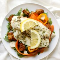Lemon-Pepper-Tilapia-Spring-Arugula-Salad-Homemade-Garlic-Herb-Croutons-5 YES