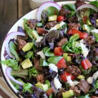 Gluten-free Bacon Blue Cheese Burger Salad recipe. This was such an easy weeknight dinner.