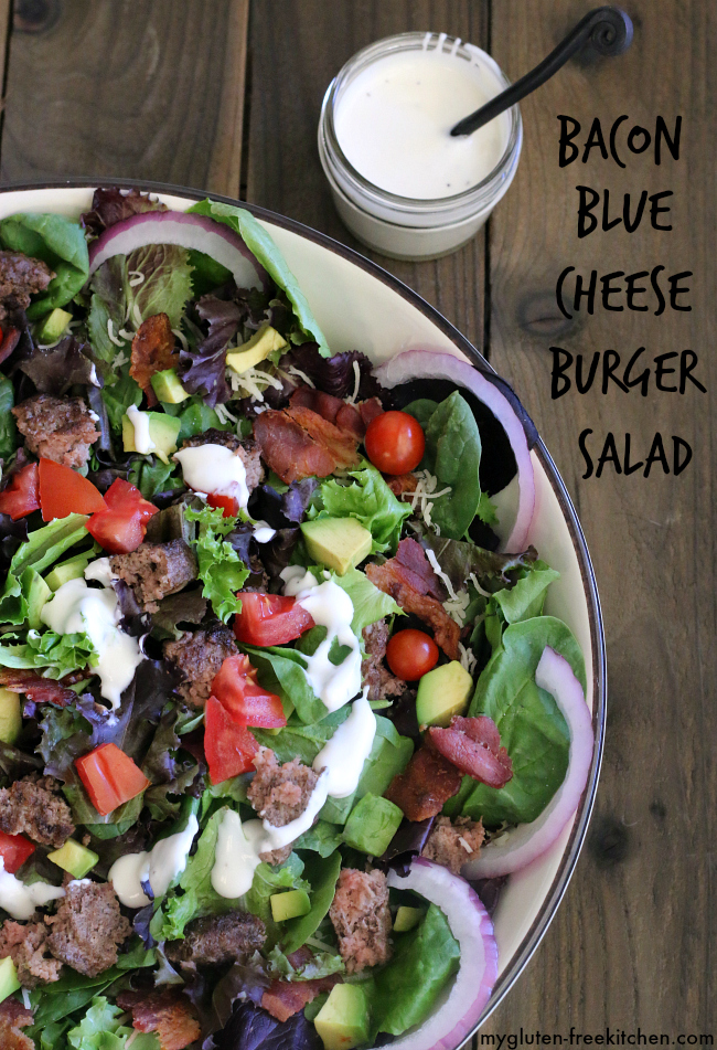 Bacon Blue Cheese Burger Salad. Quick and easy weeknight dinner recipe that's gluten-free too!