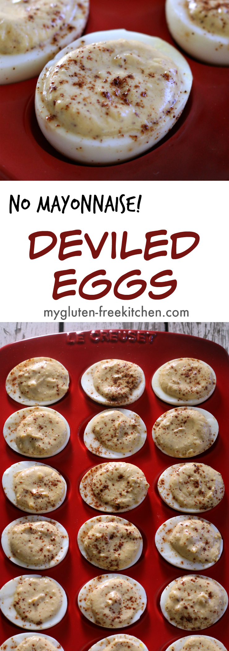 No Mayonnaise Deviled Eggs Recipe. Naturally gluten-free, creamy, tangy and a little spicy.