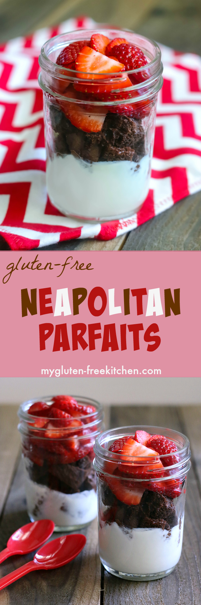 Neapolitan Parfaits. Yummy for breakfast or mid-day snack! Gluten-free, soy-free, nut-free recipe. Can easily adapt for dairy-free too!