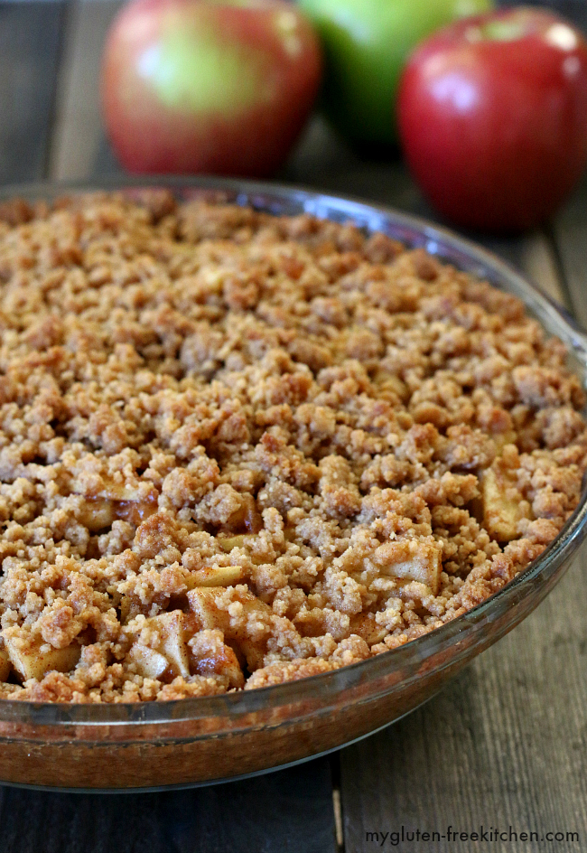 Gluten-free Apple Pie with a Snickerdoodle Cookie Crust! Sooo good!