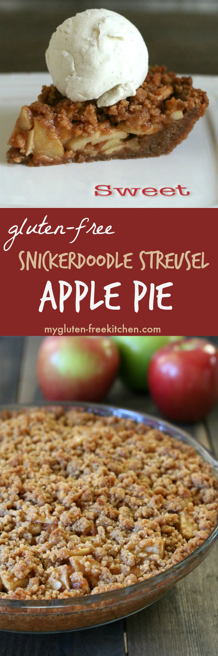 Gluten-free Apple Pie with Snickerdoodle Streusel. Amazing pie recipe!! I never liked apple pie until I had this one!