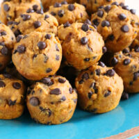 Gluten-free Pumpkin Chocolate Chip Mini Muffins {Dairy-free}