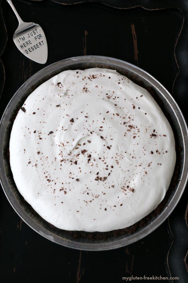 Amazing chocolate cream pie that's gluten-free! Love the chocolate cookie crust!