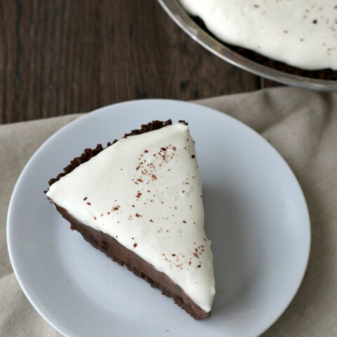 Gluten-free Chocolate Cream Pie with a chocolate cookie crust. This recipe is a keeper!