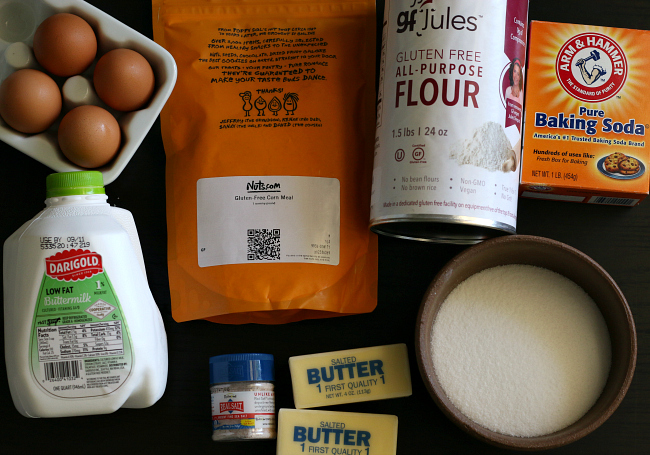 Ingredients for sweet gluten-free cornbread