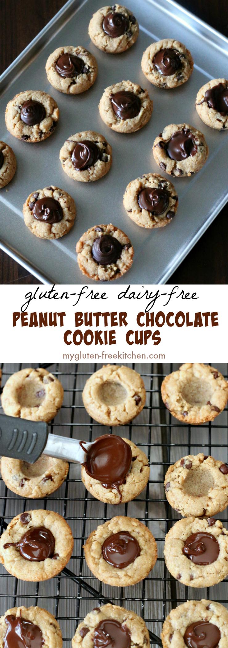 Gluten-free Peanut Butter Chocolate Cookie Cups dairy-free too. Fun #glutenfreerecipe #glutenfreecookies