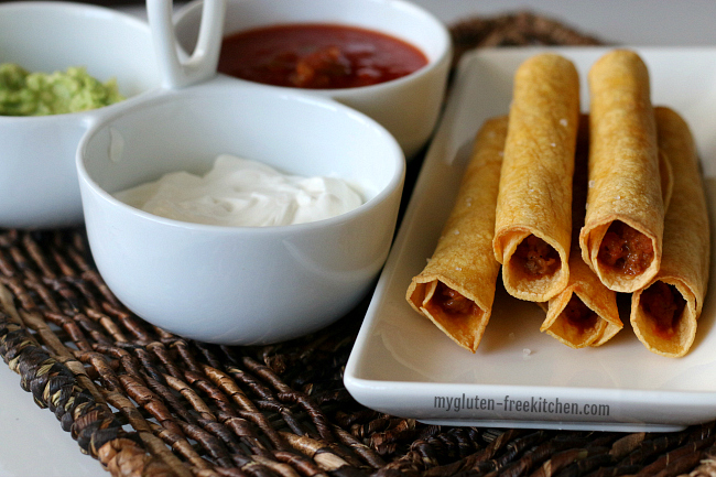 Gluten-free taquitos on a plate