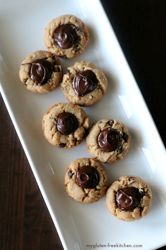 Peanut Butter Chocolate Chip Cookie Cups. Gluten-free and dairy-free recipe! Perfect for cookie trays and gifts!