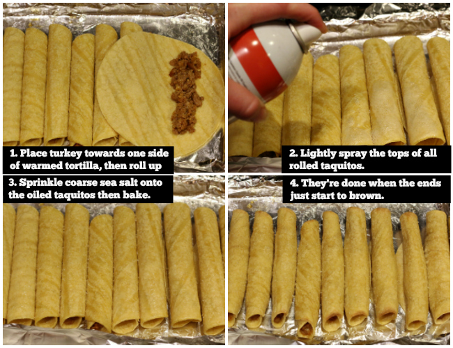 Steps for making gluten-free baked taquitos