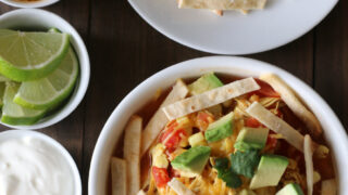 Gluten-free Chicken Tortilla Soup recipe. Quick weeknight meal that everyone can customize!