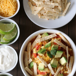 30 minute Gluten-free Chicken Tortilla Soup {Dairy-free option}