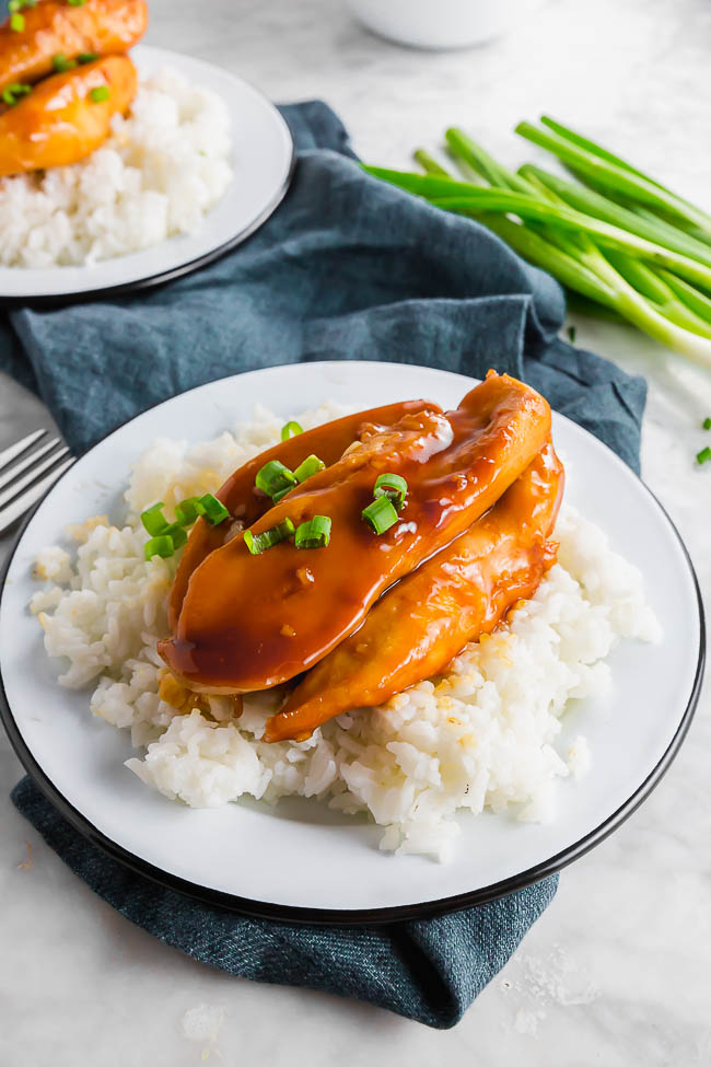 Gluten-free Sweet Chicken on a plate with rice