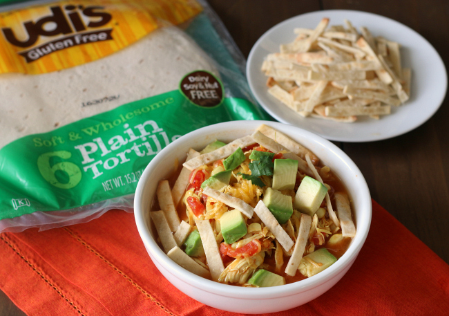 Chicken Tortilla Soup with Udi's gluten-free tortilla strips
