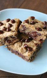 Gluten-free Double Chocolate Chip Cookie Bars - perfect recipe for potlucks, lunchbox treats or mailing!