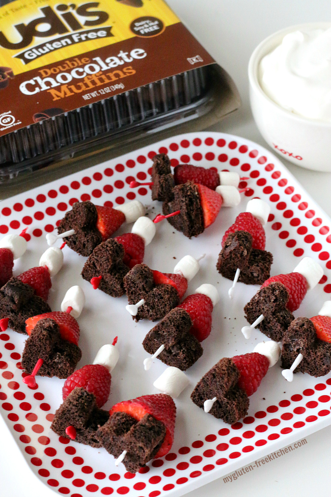 Easy Valentine's Chocolate Berry Kabobs gluten-free dairy-free. Allergy-friendly Valentine's Day snack