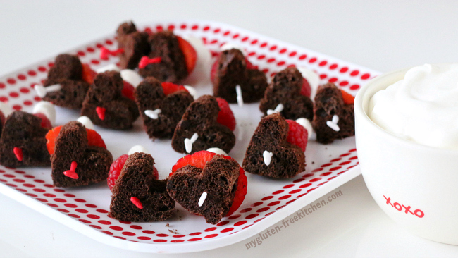 Easy Gluten-free Dairy-free Valentine's Chocolate Muffin and Berry Skewers