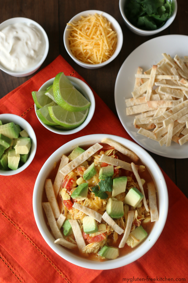 Gluten-free Chicken Tortilla Soup Recipe. Easy weeknight dinner ready in 30 minutes!