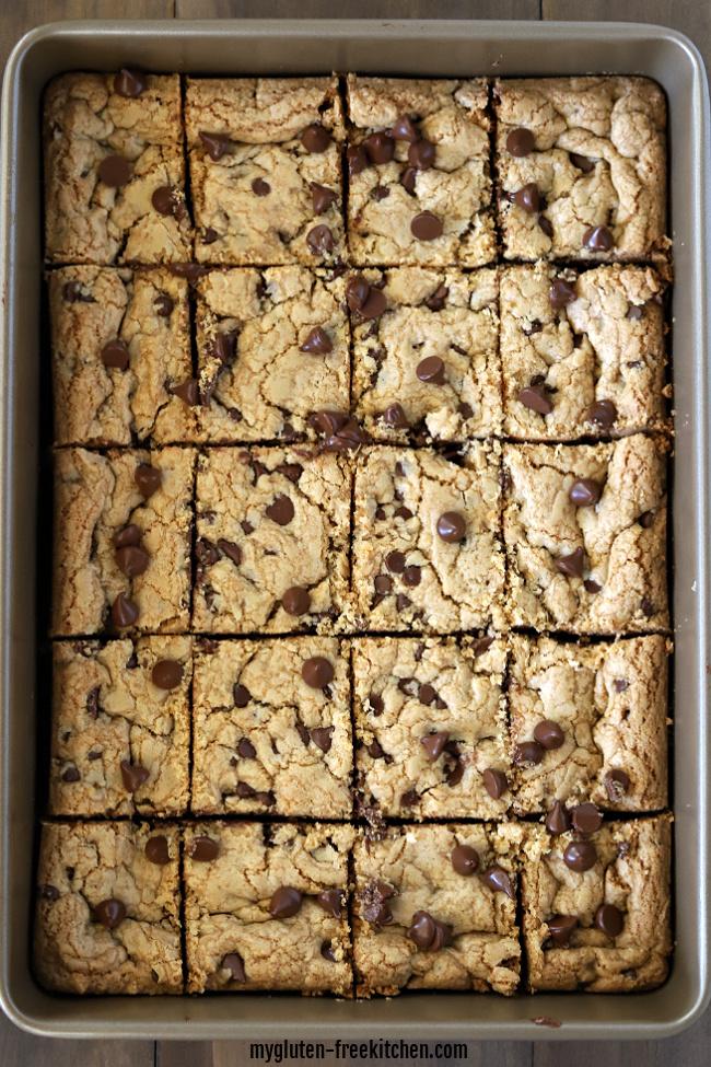 Gluten-free Chocolate Chip Cookie Bars sliced
