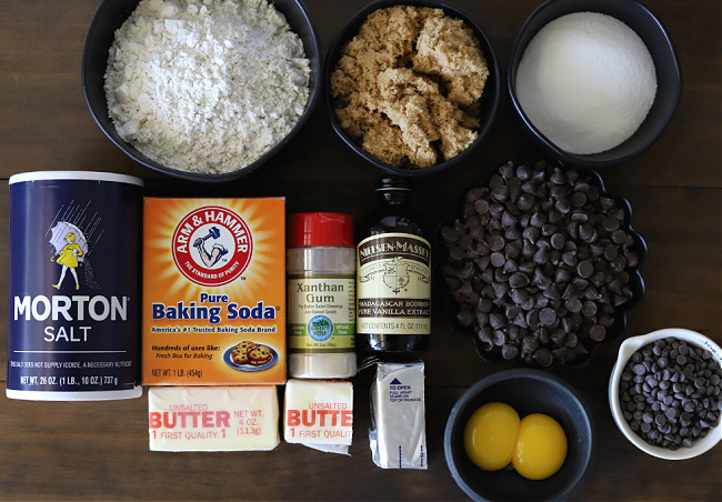 Ingredients for gluten-free chocolate chip cookie bars