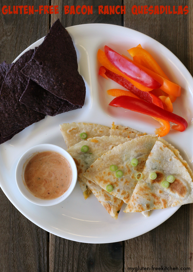 Gluten-free Bacon Ranch Quesadillas lunch for kids
