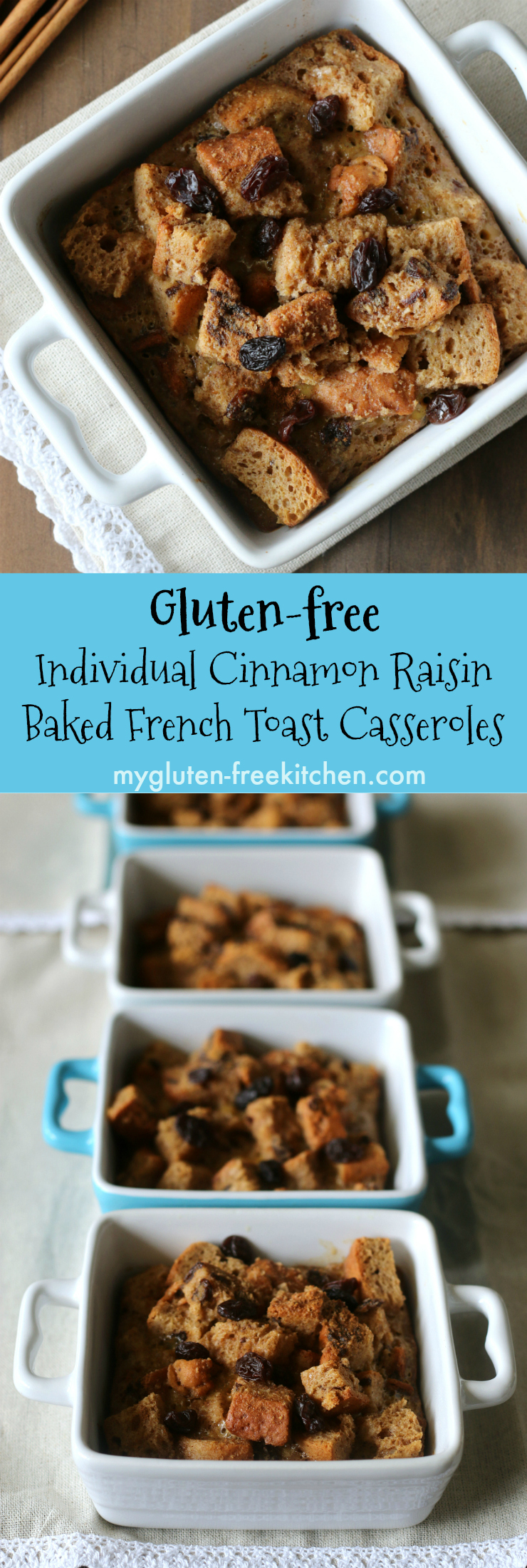 Gluten-free Individual Cinnamon Raisin Baked French Toast Casseroles. Perfect recipe for those special occasion brunches. Yummy gluten-free breakfast casserole.