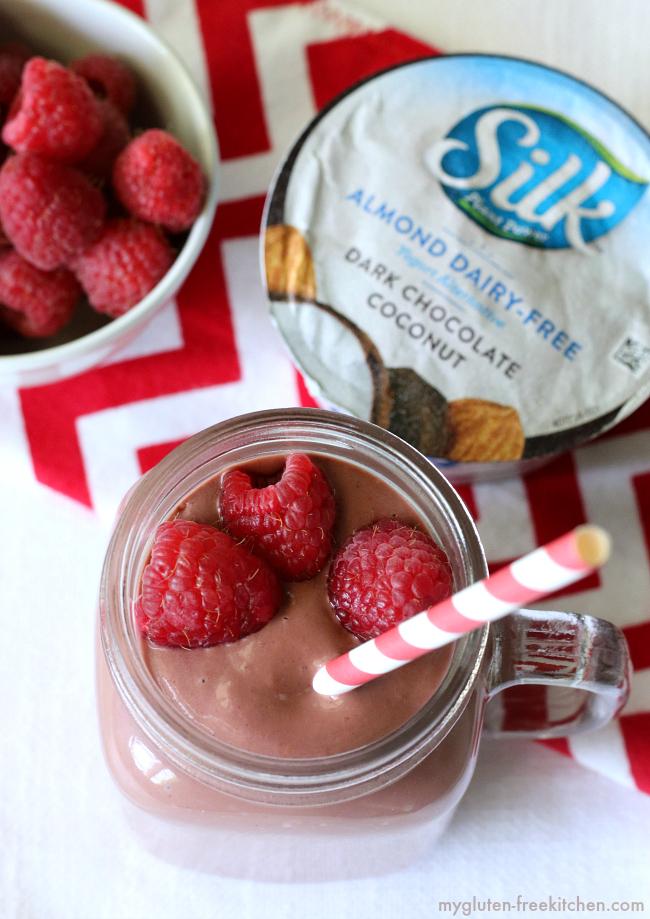 Chocolate Raspberry Smoothie with Silk almond dairy-free yogurt alternative