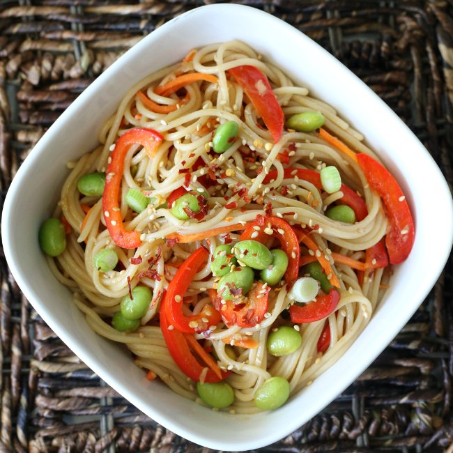 Gluten-free Sesame Noodles with vegetables recipe