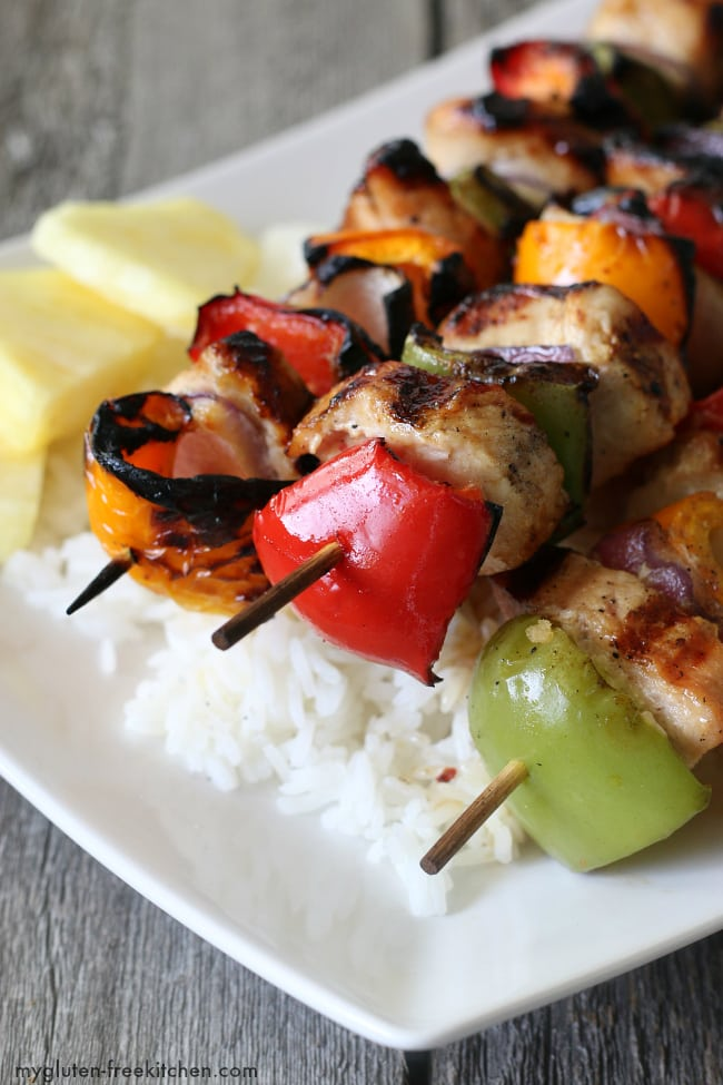 Grilled Turkey Kabobs over rice. Gluten-free dinner recipe that's delicious!