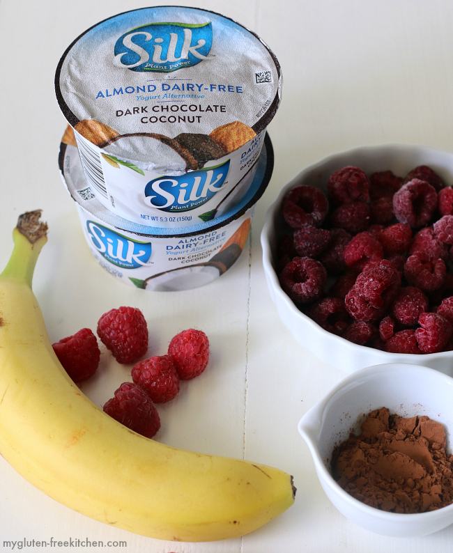Ingredients for dairy-free Chocolate Raspberry Smoothie
