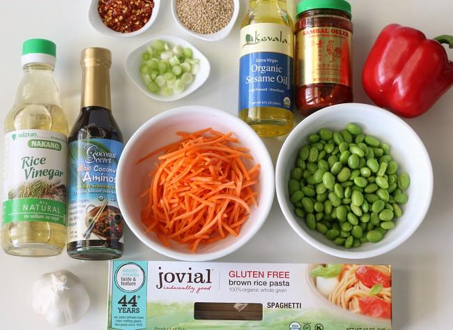 Ingredients for gluten-free sesame noodles