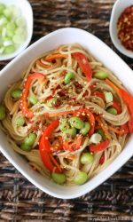 Gluten-free Sesame Noodles with Vegetables. Meatless recipe!