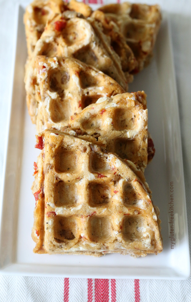 Gluten-free Pizza Waffles on plate